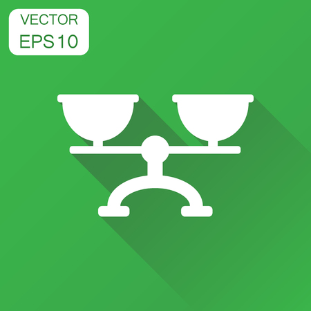 Scale weigher icon. Business concept weigher, balance sign pictogram. Vector illustration on green background with long shadow.
