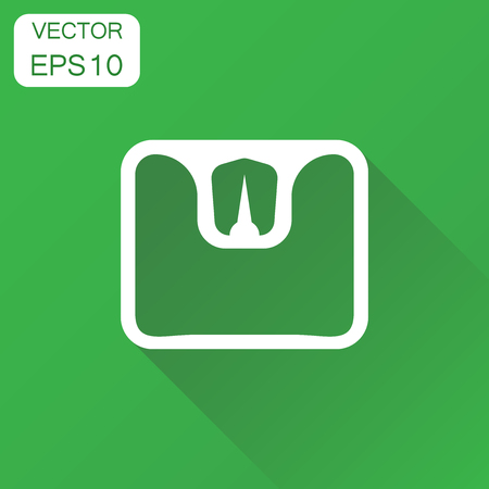 bathroom scale: Bathroom scale weigher icon. Business concept weigher, balance sign pictogram. Vector illustration on green background with long shadow.