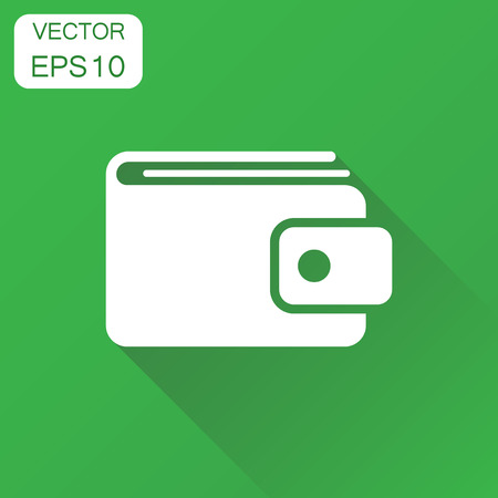 pouch: Wallet icon. Business concept money purse pictogram. Vector illustration on green background with long shadow.