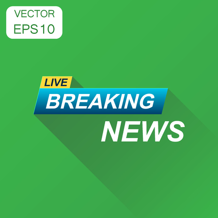 Breaking news icon. Business concept news pictogram. Vector illustration on green background with long shadow. Illusztráció