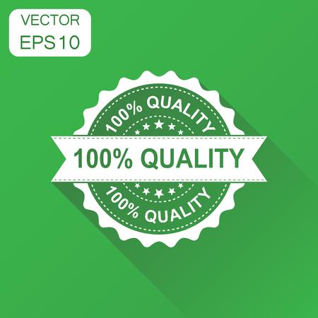 100 qualité icône de timbre en caoutchouc. Concept d'affaires 100% pictogramme de qualité timbre. Illustration vectorielle sur fond vert avec ombre portée Banque d'images - 87862736