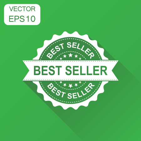 Best seller rubber stamp icon. Business concept bestseller stamp pictogram. Vector illustration on green background with long shadow.