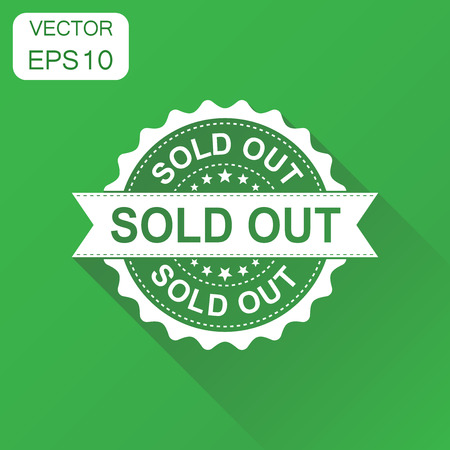Sold out rubber stamp icon. Business concept sold stamp pictogram. Vector illustration on green background with long shadow.