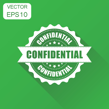 Confidential rubber stamp icon. Business concept confidential secret stamp pictogram. Vector illustration on green background with long shadow. Illusztráció
