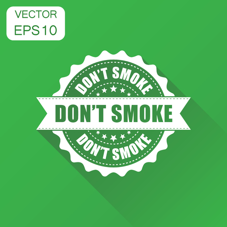 Dont smoke rubber stamp icon. Business concept no smoking stamp pictogram. Vector illustration on green background with long shadow. Illustration