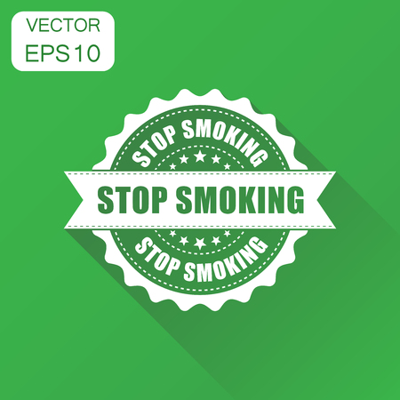 Stop smoking rubber stamp icon. Business concept no smoke stamp pictogram. Vector illustration on green background with long shadow.
