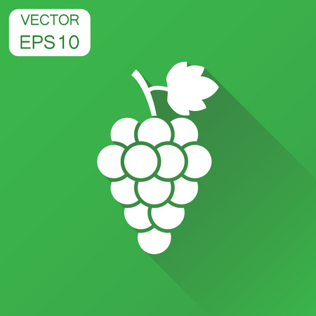 Grape fruit with leaf icon. Business concept bunch of wine grapevine pictogram. Vector illustration on green background with long shadow.