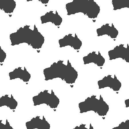 Australia map seamless pattern. Business concept Australia pictogram. Vector illustration on white background. Vettoriali