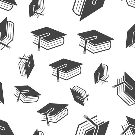 Education and book seamless pattern. Business concept diploma pictogram. Vector illustration on white background.