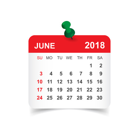 June 2018 calendar. Calendar sticker design template. Week starts on Sunday. Business vector illustration.