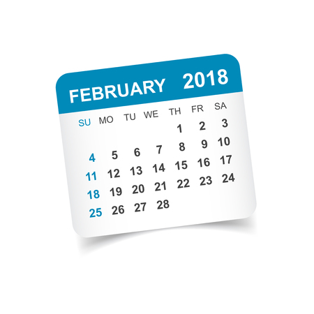 February 2018 calendar. Calendar sticker design template. Week starts on Sunday. Business vector illustration.