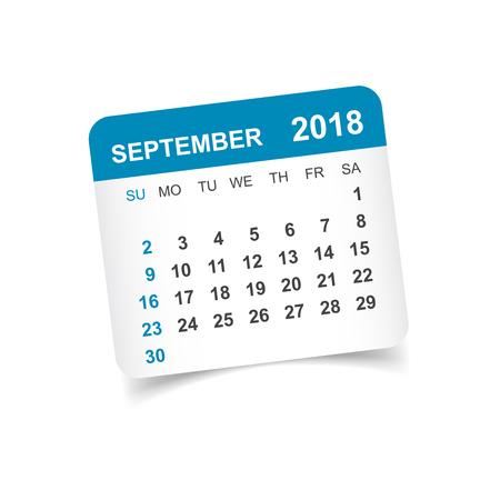 September 2018 calendar. Calendar sticker design template. Week starts on Sunday. Business vector illustration. Иллюстрация