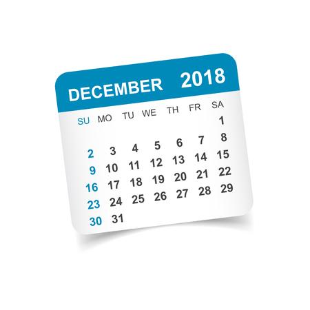 December 2018 calendar. Calendar sticker design template. Week starts on Sunday. Business vector illustration. 向量圖像