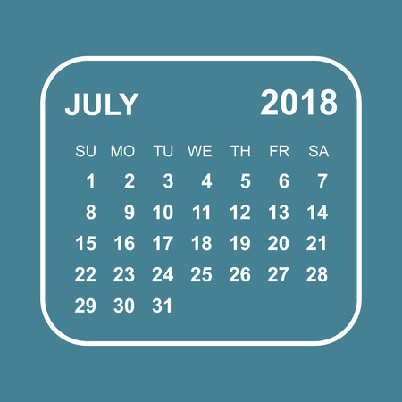 calendar page: July 2018 calendar. Calendar planner design template. Week starts on Sunday. Business vector illustration. Illustration