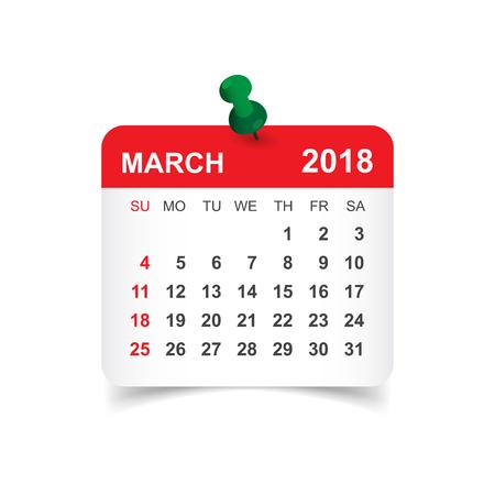 Calendario marzo 2018. Modello di disegno adesivo del calendario. La settimana inizia di domenica. Illustrazione vettoriale. Vettoriali