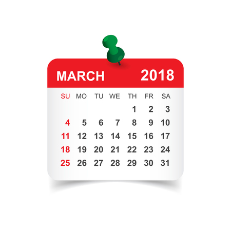 Kalendarz marca 2018 r. Szablon projektu naklejki kalendarza. Tydzień rozpoczyna się w niedzielę. Biznesowa wektorowa ilustracja. Ilustracje wektorowe