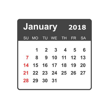 January calendar design template.