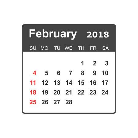 February calendar design template. 向量圖像