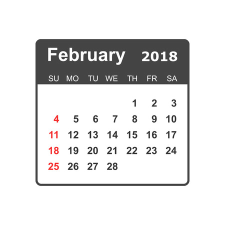 February calendar design template. Illustration