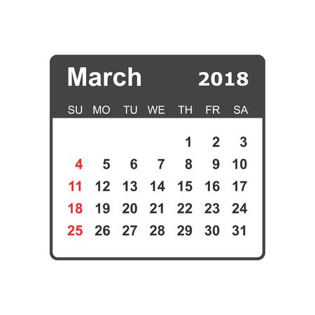 March calendar design template.