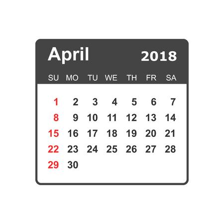 April calendar design template. 向量圖像