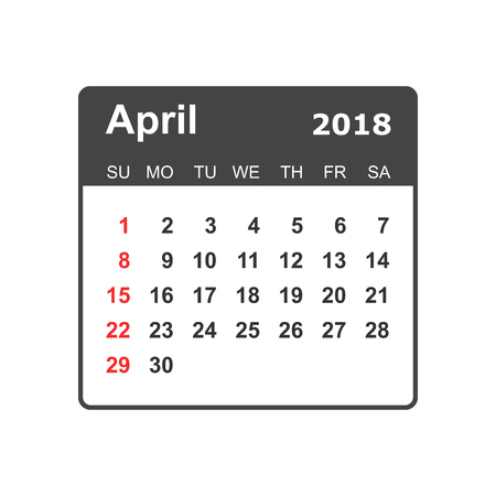 April calendar design template. Illustration