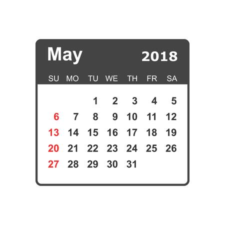 May 2018 calendar design template. 向量圖像