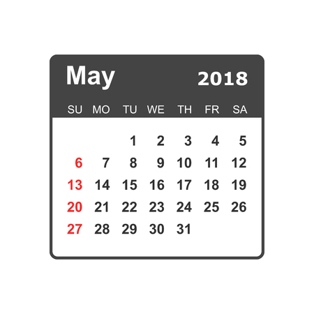May 2018 calendar design template. Illustration