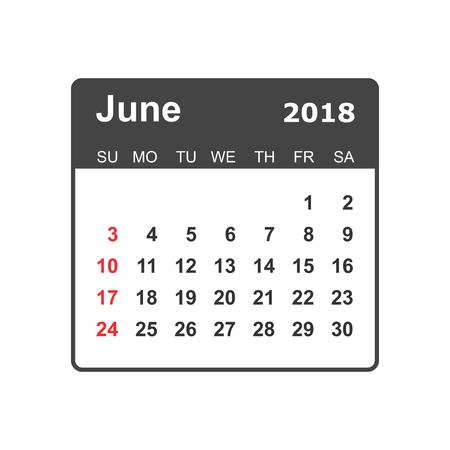 June 2018 calendar design template. 向量圖像