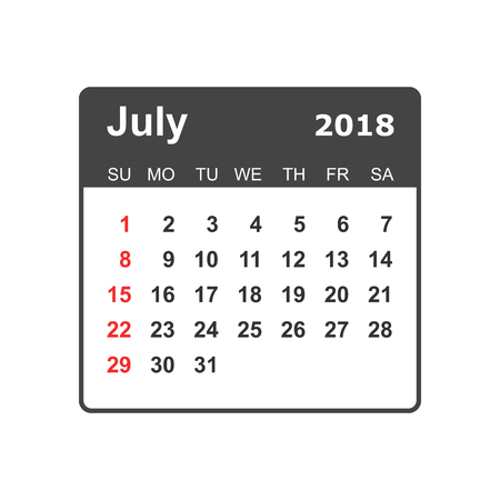 July 2018 calendar design template.