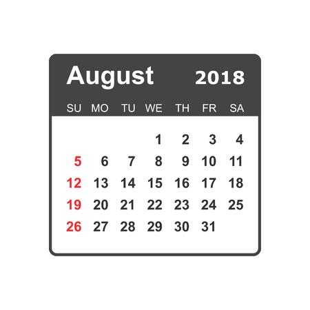 August 2018 calendar design template. Illustration