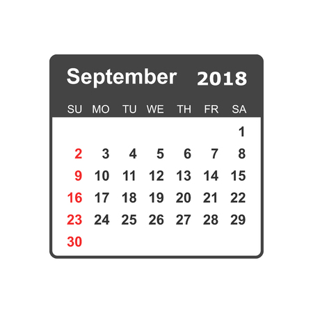 September 2018 calendar design template.