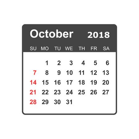 October 2018 calendar design template. 向量圖像