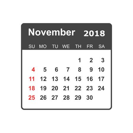 November 2018 calendar design template.
