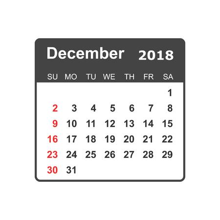 December 2018 calendar design template.
