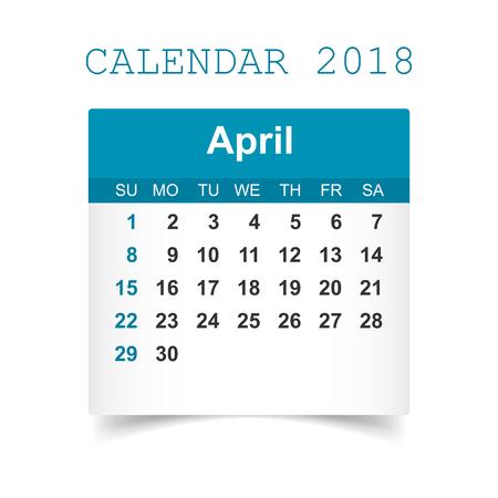 April 2018 calendar Illustration