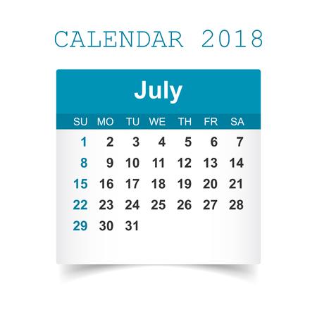 July 2018 calendar Illustration