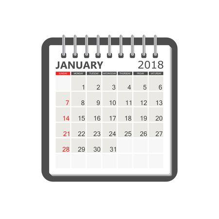 january 2018 calendar stock vector 88294162