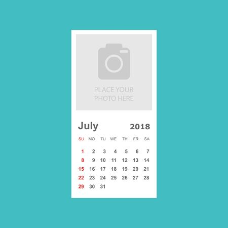 July 2018 calendar. Calendar planner design template with place for photo. Week starts on sunday. Business vector illustration. Ilustração