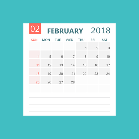 February 2018 calendar. Calendar planner design template. Week starts on Sunday. Business vector illustration. Illustration