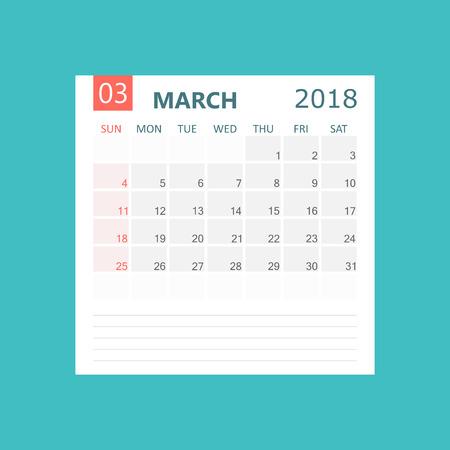 Maart 2018 kalender. Kalender planner ontwerpsjabloon. Week begint op zondag. Zakelijke vectorillustratie. Stock Illustratie