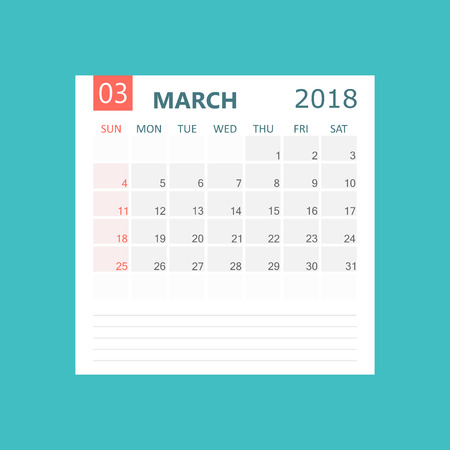 March 2018 calendar. Calendar planner design template. Week starts on Sunday. Business vector illustration.