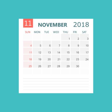 November 2018 calendar. Calendar planner design template. Week starts on Sunday. Business vector illustration. Illusztráció