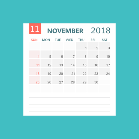 November 2018 calendar. Calendar planner design template. Week starts on Sunday. Business vector illustration. Illustration