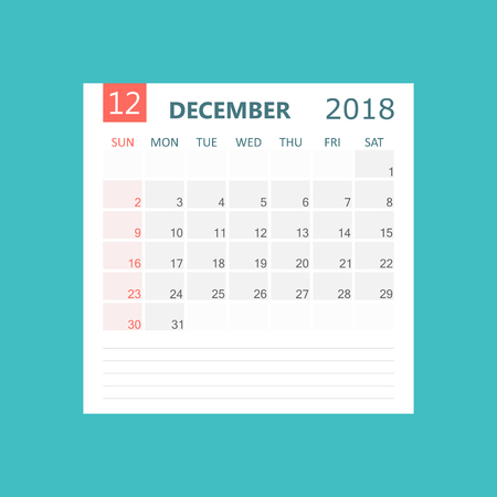 December 2018 calendar. Calendar planner design template. Week starts on Sunday. Business vector illustration.