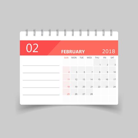 February 2018 calendar design template illustration.