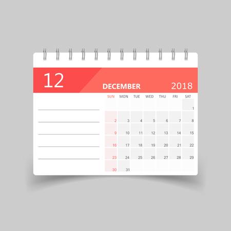 December 2018 calendar design template illustration.