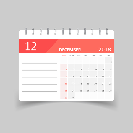 December 2018 calendar design template illustration.