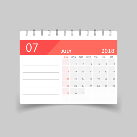 July 2018 calendar design template illustration.