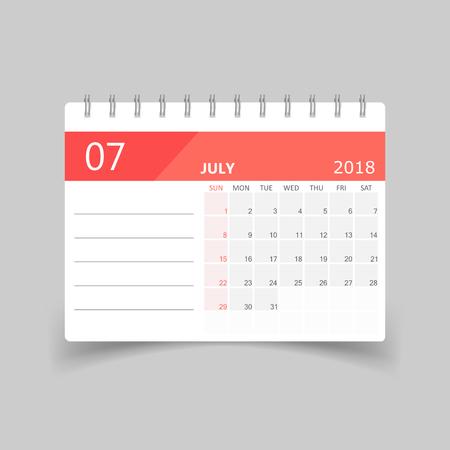 July 2018 calendar design template illustration.